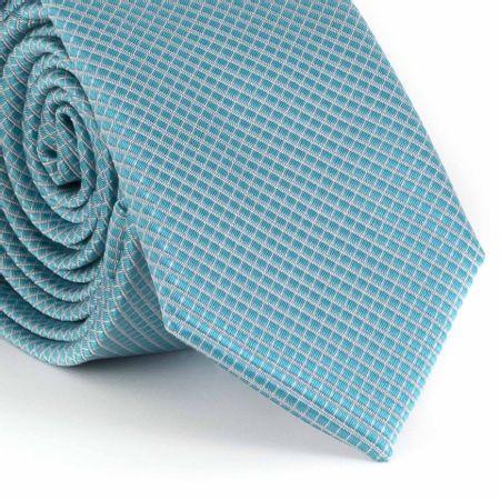 Gravata-Slim--falso-liso-quadriculado-poliester-azul-celeste