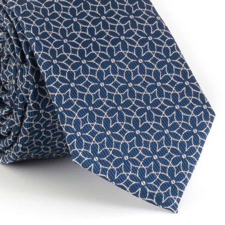Gravata-Slim-com-desenho-geometrico-floral-em-poliester-azul-marinho