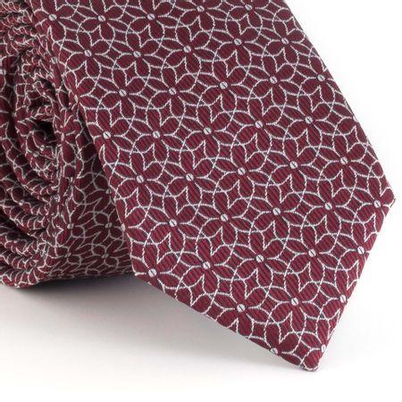 gravata-slim-com-desenho-geometrico-floral-em-poliester-vinho