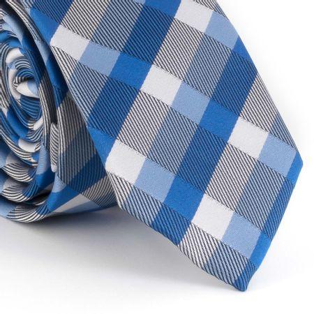 Gravata-Slim--com-desenho-xadrez-em-poliester-azul-royal-com-cinza