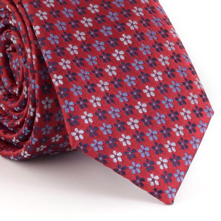 Gravata-Slim-com-desenho-mini-margaridas-vermelho