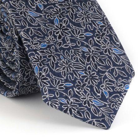 Gravata-Slim-com-desenho-floral-em-poliester-marinho-com-micro-detalhes-azul-royal