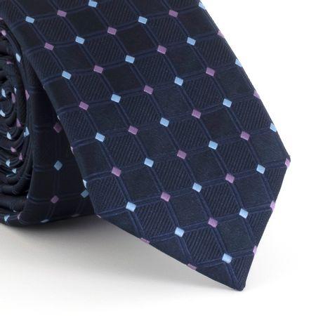 Gravata-Slim--falso-liso-quadriculado-em-poliester-marinho-com-detalhes-lilas-e-azul-claro
