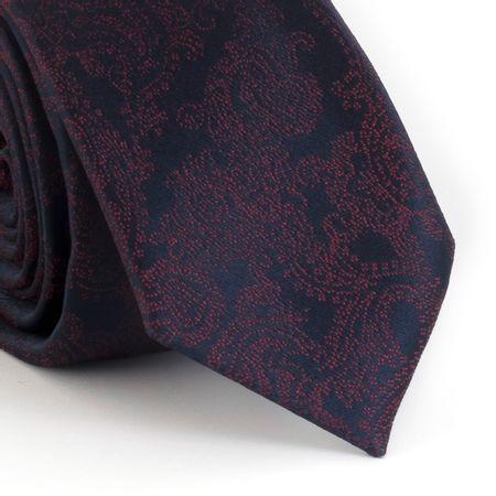 Gravata-Slim--com-desenho-cashmere-em-poliester-marinho-com-vermelho