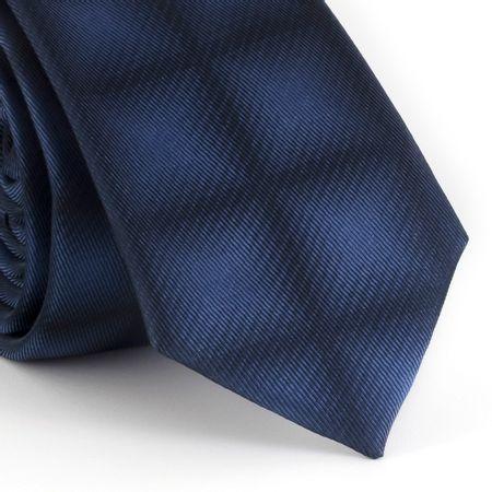 Gravata-Slim--com-desenho-geometrico-quadriculado-em-poliester-marinho