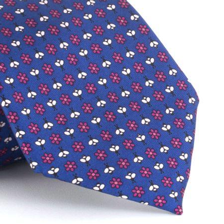 Gravata-estampada-em-seda-pura-Flowes-and-Bee-Azul-com-Rosa