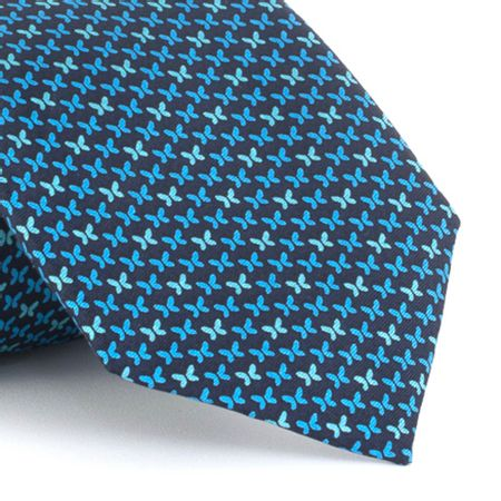 Gravata-estampada-em-seda-floral-Butterfly-Azul-royal-com-Verde-agua