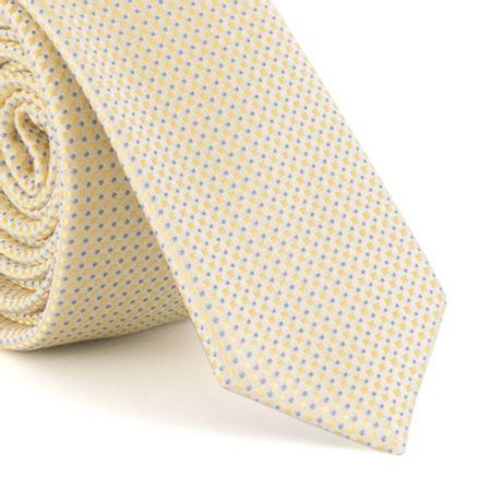 Gravata-Super-Slim-em-poliester-falso-liso-com-micro-textura-amarelo-delicado-com-pontos-azuis