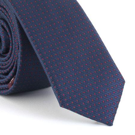 Gravata-Super-Slim-em-poliester-texturizada-marinho-com-pingos-vermelhas