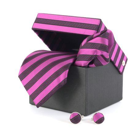 Gravata-com-lenco-abotoaduras-e-caixinha-desenhos-geometricos-em-polieste-pink-com-roxo-e-preto