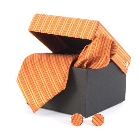 Gravata-com-lenco-abotoaduras-e-caixinha-listras-degrade-tons-de-laranja