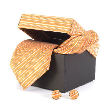 Gravata-com-lenco-abotoaduras-e-caixinha-listras-degrade-tons-de-laranja-com-branco