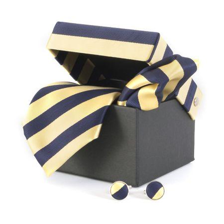 Gravata-com-lenco-abotoaduras-e-caixinha-listras-largas-marinho-com-amarelo