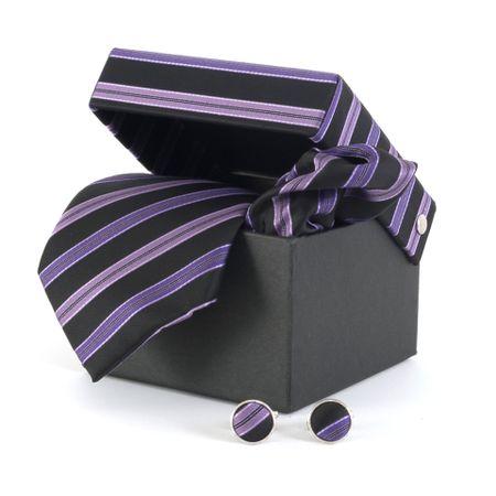 Gravata-com-lenco-abotoaduras-e-caixinha-desenhos-geometricos-em-polieste-roxo-com-lilas-e-preto