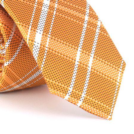 Gravata-Slim-xadrex-em-poliester-laranja-com-branco