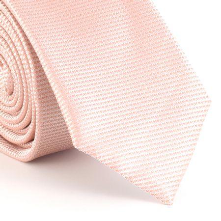 Gravata-Slim-falso-liso-quadriculado-em-poliester-salmao-com-fundo-branco
