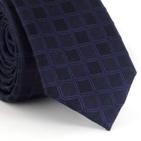 Gravata-Slim-com-desenho-geometrico-quadriculado-em-poliester-roxo-com-azul-marinho