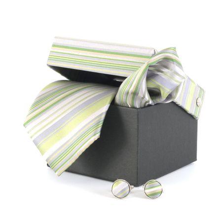 Gravata-com-lenco-e-caixinha-desenhos-geometricos-em-poliester-Verde-textura-medium