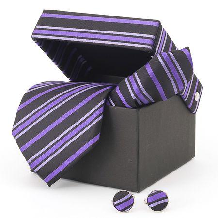 Gravata-com-lenco-abotoaduras-e-caixinha-preta-com-listras-finas-lilas-e-roxa