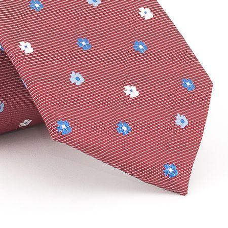 Gravata-petit-floral-em-jacquard-de-poliester-vinho-com-flores-em-tons-de--branco-e-azul
