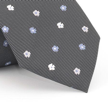 Gravata-petit-floral-em-jacquard-de-poliester-preta-com-flores-em-tons-de--branco-e-azul