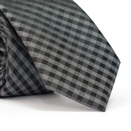 gravata-slim-xadrez-em-poliester-Preta-e-Chumbo