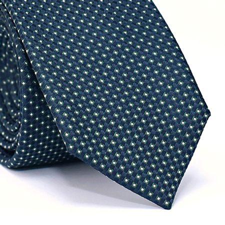 Gravata-Slim-em-Poli-ester-Desenho-Quadriculado-Verde-com-Fundo-Azul