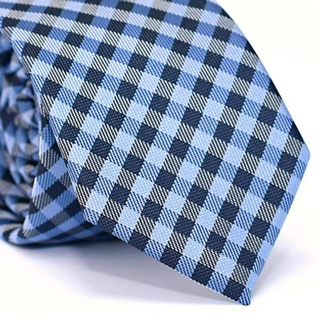 Gravata-Slim-em-Poliester-Azul-com-Desenho-Xadrez-Preto