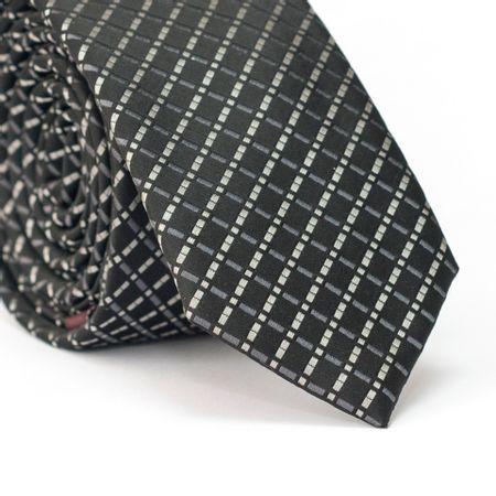 Gravata-Slim-em-Poliester-Preta-com-Desenho-Geometrico-Quadriculado