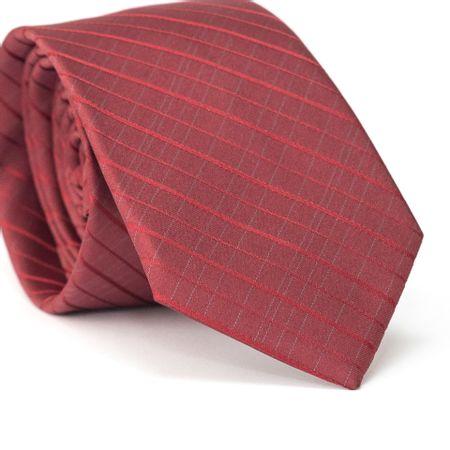 Gravata-Slim-em-Poliester-Vermelha-com-Listras-Diagonais-Vermelha-com-Detalhes-em-Cinza