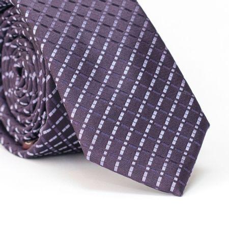 Gravata-Slim-em-Poliester-Roxa-com-Desenho-Geometrico-Quadriculado-
