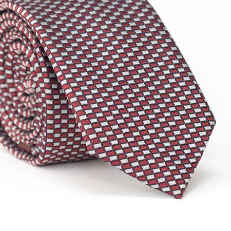 Gravata-Slim-em-Poliester-com-Quadriculado-em-Vermelho-e-Branco