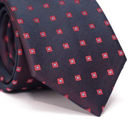 Gravata-Tradicional-em-Poliester-Furta-Cor-Azul-Marinho-com-Vermelho-com-Desenhos-Quadriculados-Vermelho-