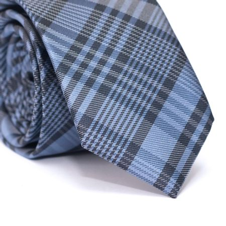 Gravata-Slim-em-Poliester-Xadrez-Azul