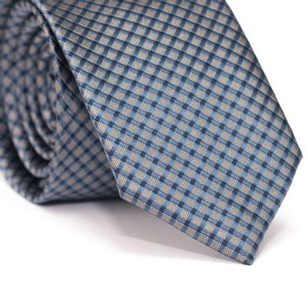 Gravata-Slim-em-Poliester-Cinza-com-Detalhes-em-Azul