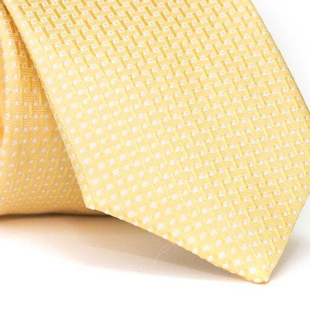 Gravata-Tradicional-em-Poliester-Amarela-com-Entrelacado-e-Detalhes-em-Branco