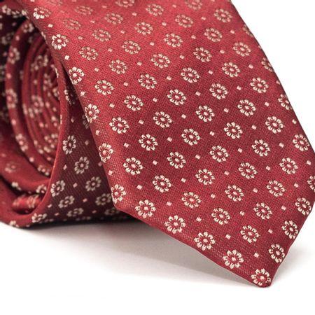 Gravata-Slim-em-Poliester-Vermelha-com-Detalhes-Florais-em-Bege