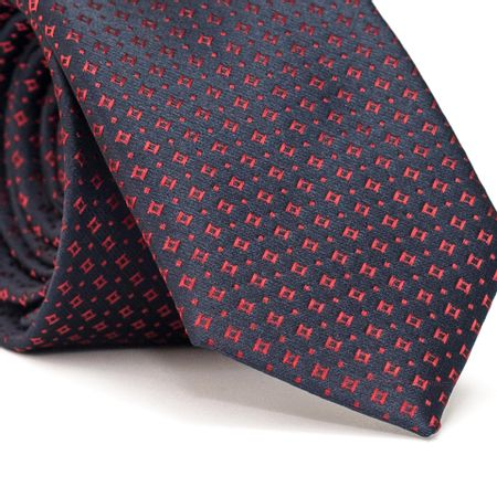 Gravata-Slim-em-Poliester-Azul-Marinho-com-Desenhos-Geometricos-em-Vermelho