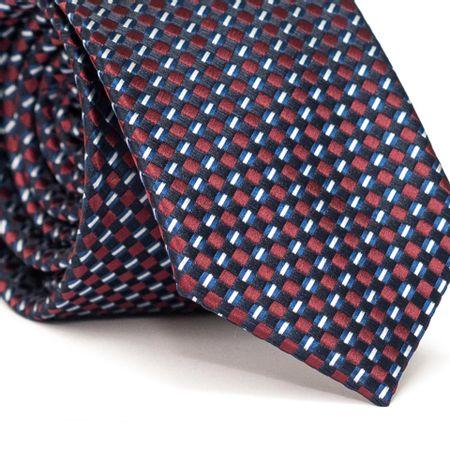 Gravata-Slim-em-Poliester-Azul-Marinho-com-Entrelacado-em-Vermelho-e-Azul-com-Detalhes-Branco