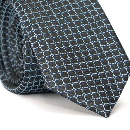Gravata-Slim-em-Poliester-Cinza-com-Detalhes-em-Azul-e-Branco