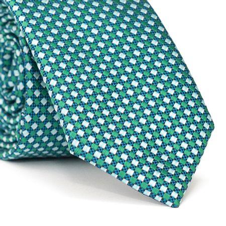 Gravata-Slim-em-Poliester-Verde-com-Entrelacado-em-Azul-e-Branco