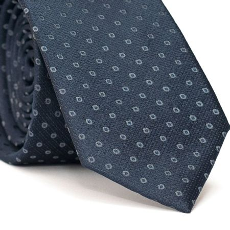 Gravata-Slim-em-Poliester-Azul-Marinho-com-Desenhos-Geometricos-em-Cinza-e-Azul