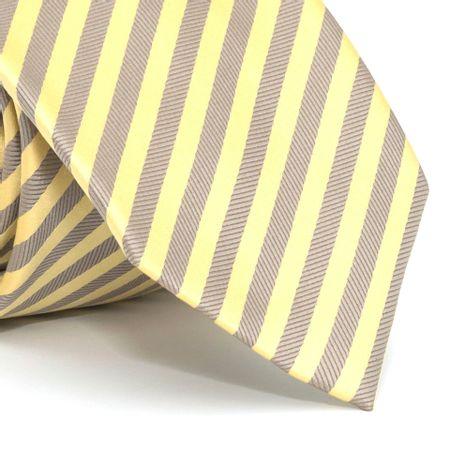 Gravata-com-desenho-listrado-em-poliester-Amarela-textura-medium