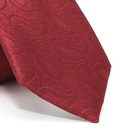 Gravata-Slim-com-desenho-cashmere-em-poliester-Vermelha-textura-large