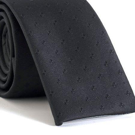 Gravata-Slim-bico-quadrado-com-desenhos-geometricos-em-poliester-Preta-textura-small