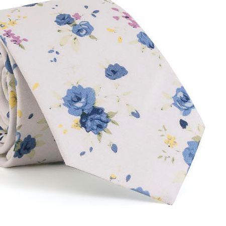 Gravata-Slim-com-desenho-floral-em-algodao-Branca-textura-large