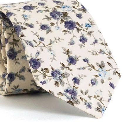 Gravata-Slim-com-desenho-floral-em-algodao-Branca-textura-medium-2