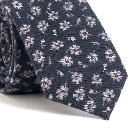 Gravata-Slim-com-desenho-floral-em-algodao-Azul-textura-medium