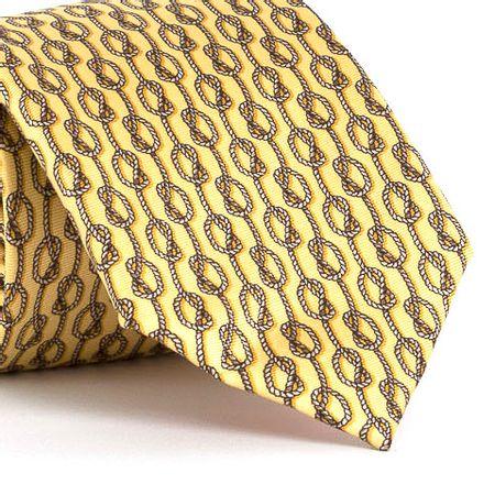 Gravata-estampada-em-seda-pura-com-desenho-geometrico-na-cor-Amarela-textura-medium