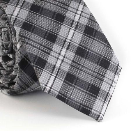 Gravata-Slim--com-desenho-xadrez-em-poliester-preto-e-cinza